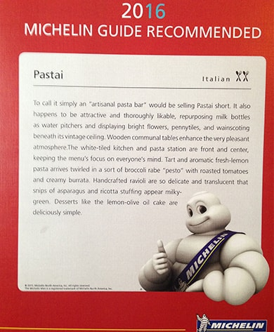 Pastai in Michelin 2016